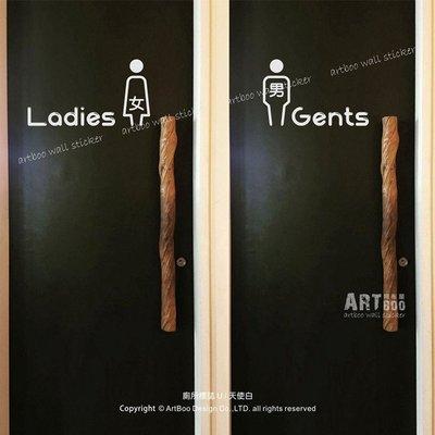 阿布屋壁貼》廁所標誌U-M‧ TOILET 男女洗手間標示 WC RESTROOM 咖啡廳/營業場所標示防水貼紙