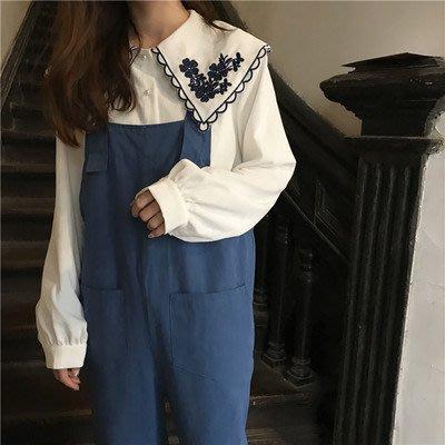 2018-鉤花寬鬆釘珠娃娃領襯衫女長袖上衣S12195BoBo衣著森林