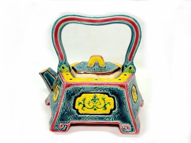 *藏雅軒*智廬交趾陶-外交送禮居家風水開運商品-萬壽六角提樑壺--1725