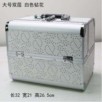 【優上】手提大號化妝箱專業化妝師紋繡工具箱彩妝箱大號白色鑽花帶閃
