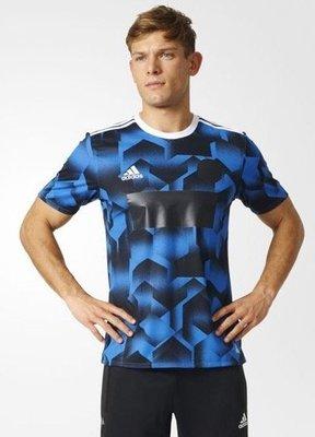 ADIDAS愛迪達 男M號藍黑色經典3線刺繡TRAINING INDIVIDUAL 短袖足球輕量 透氣藍黑色AZ9722