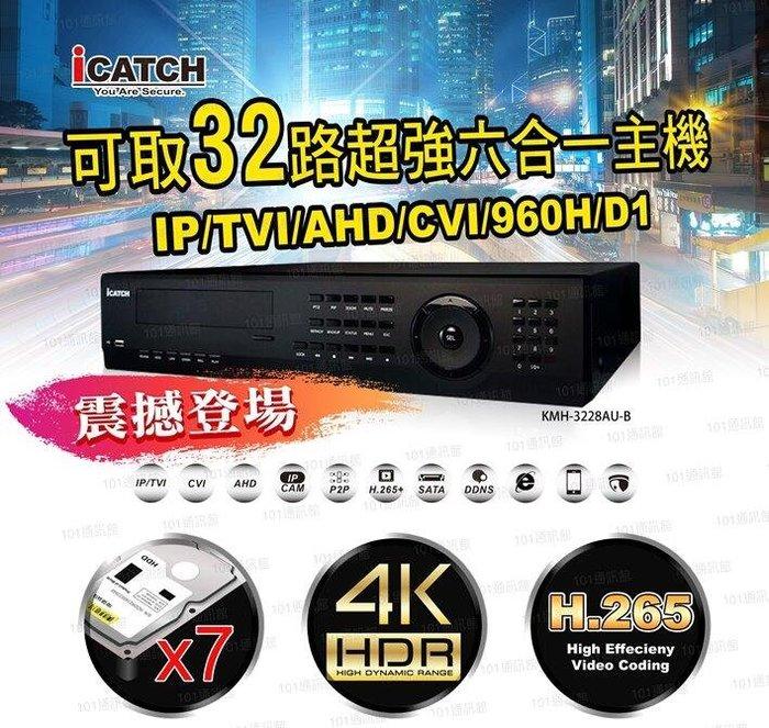 數位通訊~ICATCH 可取 32路 KMH-3228 4K 六硬碟 DVR 錄影 監視 H.265 2160P