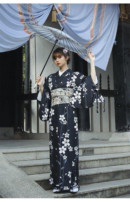 09黑色櫻花季日式和服浴衣日本和服正裝女改良和服