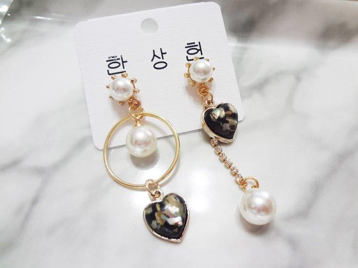 【Love Trina】8157-E677。 一般針。七彩愛心不對稱幾何圆形耳針式耳環--一般針(1色)