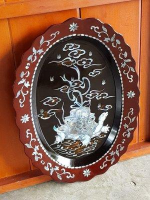 彰化二手貨中心(原線東路二手貨) ---早期鑲貝掛畫盤 漆器螺鈿鑲貝畫盤 貝殼盤 壁掛美飾
