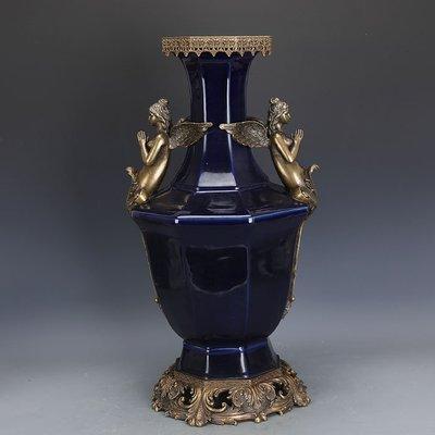 ㊣姥姥的寶藏㊣ 大清乾隆霽藍釉回流瓷鑲銅八棱尊  官窯古瓷器手工瓷古玩古董收藏