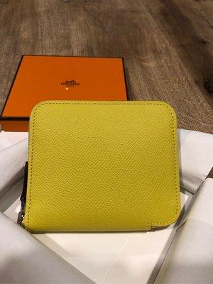 西雅圖的衣櫃全新真品Hermes愛馬仕Silk In Compact絲巾短夾/台北可以面交Lime萊姆黃