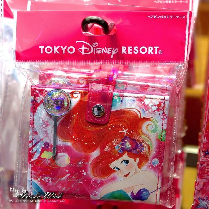 Ariel's Wish預購-日本東京Disney迪士尼愛麗兒小美人魚粉紅色夢幻海底泡泡隨身鏡摺疊鏡子附水鑽髮夾