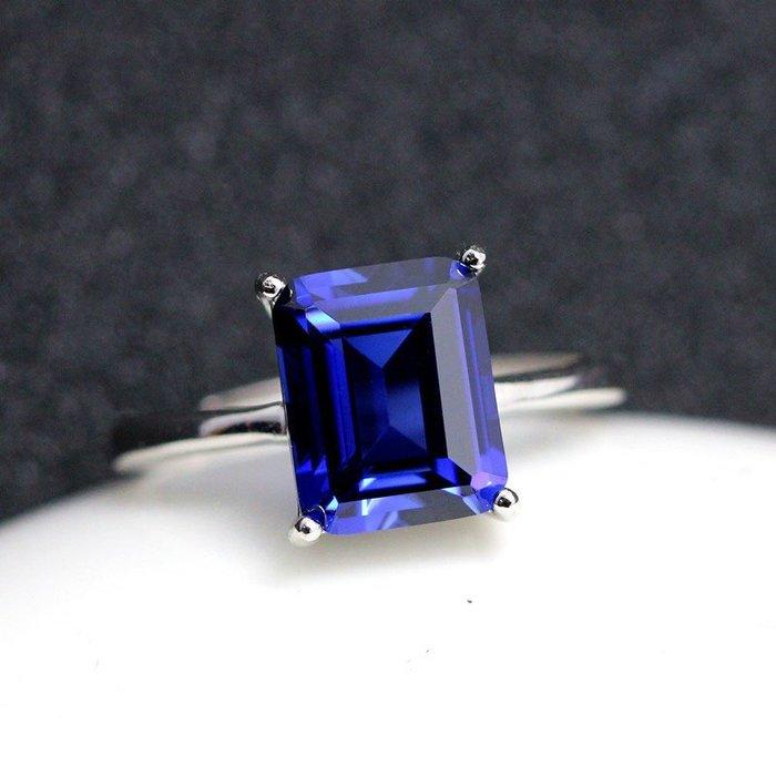 【福寶堂】簡約款坦桑藍寶石戒指長方形女款皇家藍奢華日韓純銀坦桑石首飾品