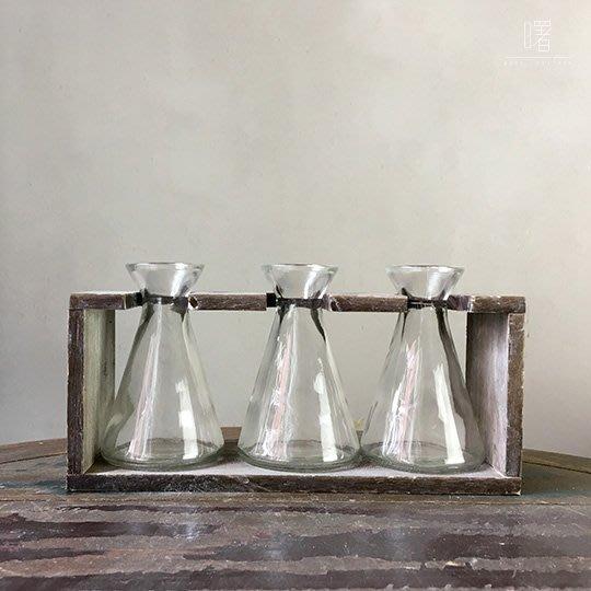 【曙muse】北歐風附架玻璃瓶三入組 插花瓶  水瓶 簡約擺設 居家小物 loft 工業風 咖啡廳 民宿 餐廳 住家
