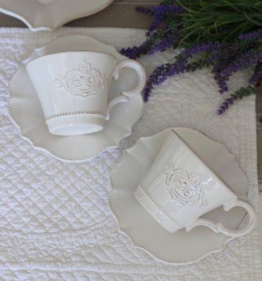 麻布花園zakka雜貨~法式作舊浮雕M字 咖啡杯組