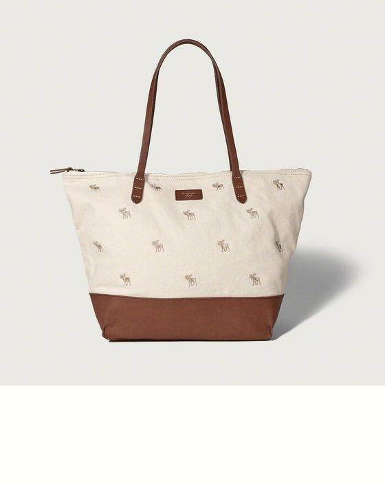 Maple麋鹿小舖 Abercrombie&Fitch *女生米+咖啡色麋鹿款肩背大包 *( 現貨 )