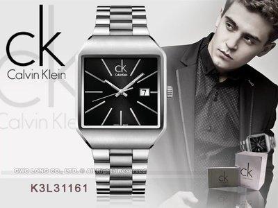 CASIO手錶專賣店 國隆 CK手錶專賣 Calvin Klein 瑞士_K3L31161 黑 方型時尚紳士錶_保固一年_開發票