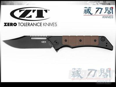 《藏刀閣》ZERO TOLERANCE-(0223)棕褐色G10鈦柄黑刃折刀