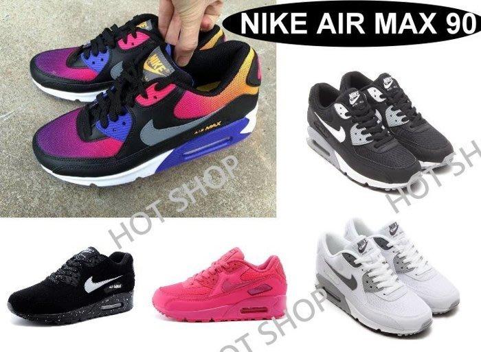 NIKE AIR MAX 90 ESSENTIAL 運動鞋 GS 氣墊鞋 潑墨 慢跑鞋 彩虹 休閒鞋 黑 白 桃紅 男女