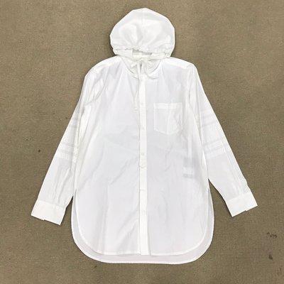 車庫服飾 - - 現貨 二手 VOTE MAKE NEW CLOTHES 網眼布連帽白色長版襯衫 多層次搭配