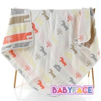 BabyFace【六層紗】小木馬紗布料 透氣保暖/四季可用/雙面設計/日式工法/品質保證/紗被童被浴巾(110*110)