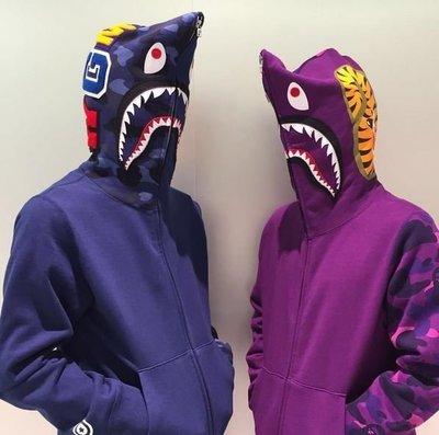 ☆AirRoom☆【現貨】BAPE COLOR CAMO SHARK FULL ZIP HOODIE 鯊魚 半袖 3色