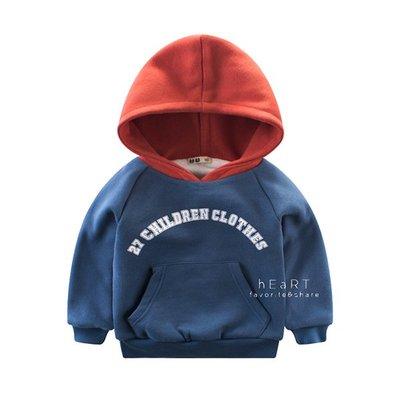 【可愛村】雙層拼色加厚帽T上衣 T恤 T-shirt 童裝