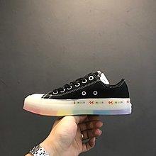 Converse All Star Glow 1970s OX 匡威夏季果凍透明色彩虹底 低幫帆布硫化板鞋 百搭 黑色