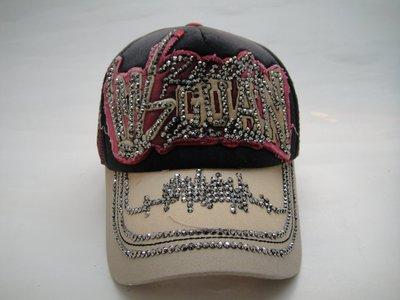 現貨供應*JIFU 鉅釜皮件*帽子*完美拼接概念亮鑽棒球帽(黑/卡其色)