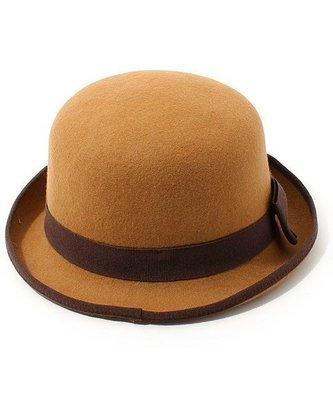 日本hats&dreams義大利製 經典熱賣款百搭款100%羊毛 甜甜焦糖滾邊造型紳士帽,圓禮帽(NO.907)