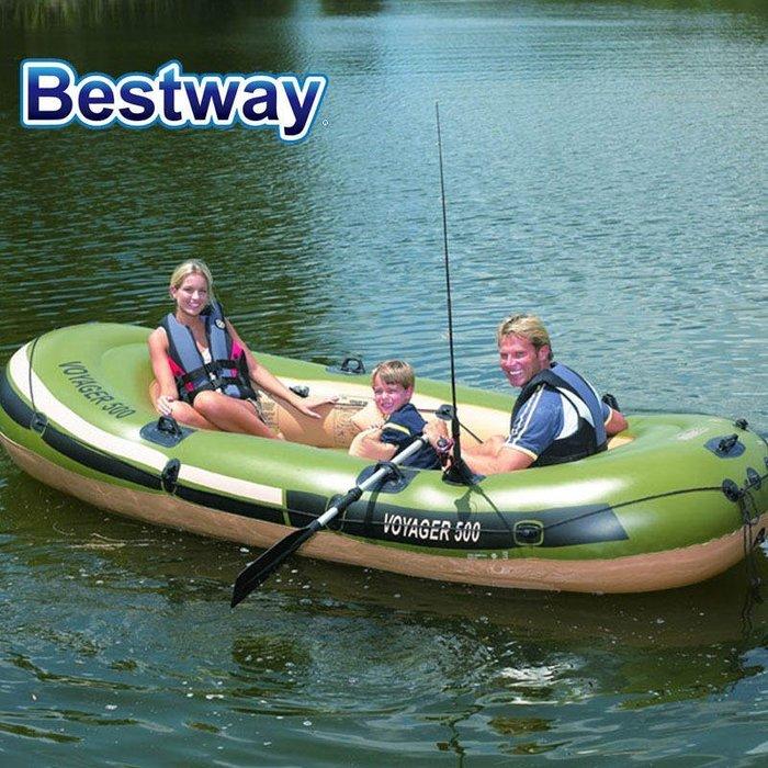 免運費 美國正廠Bestway 原裝加大款3.5米 釣魚艇皮划艇 全配組 釣魚充氣船 橡皮艇 救生艇 氣墊船 氣墊艇