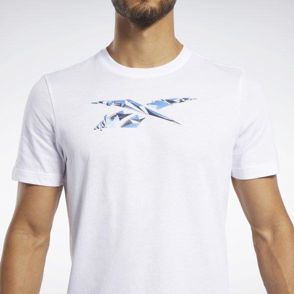 FOCA REEBOK ® 男款 運動短t  運動 健身 短袖 FL0593 白色 白藍  logo 棉質