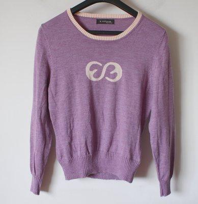 全新義大利知名品牌【D.EXTERIOR】淡紫色100%頂級美麗諾羊毛長袖毛衣直購$999元運費不合併
