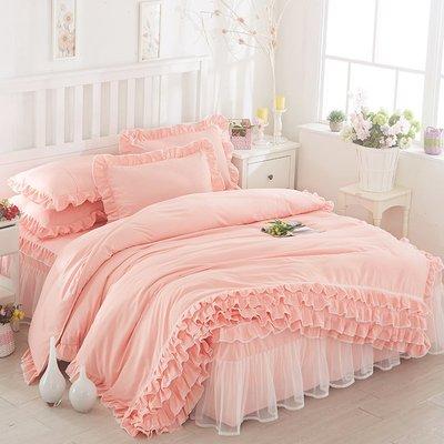 韓國公主蕾絲床裙式床罩式三件套純色花邊被套DSHY