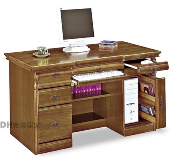 【DH】貨號B424-06《幻象》4.5尺古典樟木實木電腦桌˙沉穩設計˙質感一流˙主要地區免運