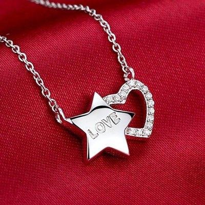 【實用】之星女士星星水晶S925純銀項鍊飾品銀項鍊鎖骨吊墜吊墜韓版韓版/韓國風