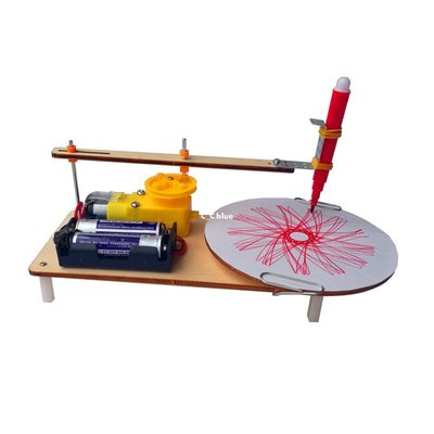 C_C.blue STEM小學生手工科技小制作小發明DIY電動繪圖儀材料科普益智玩具