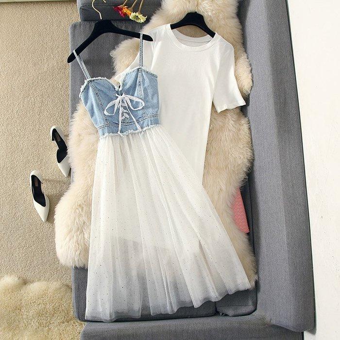 牛仔洋裝 半身裙 A字裙 時尚套裝連衣裙亮片網紗大擺中長裙牛仔吊帶裙兩件套
