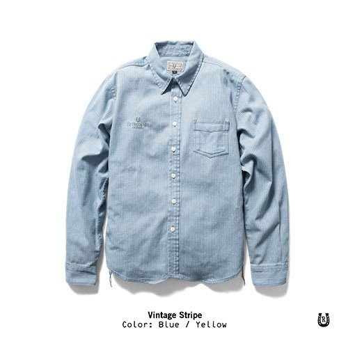 (I LOVE 樂多) Retrodandy Vintage Stripe 直條紋工作襯衫 (淺藍色)