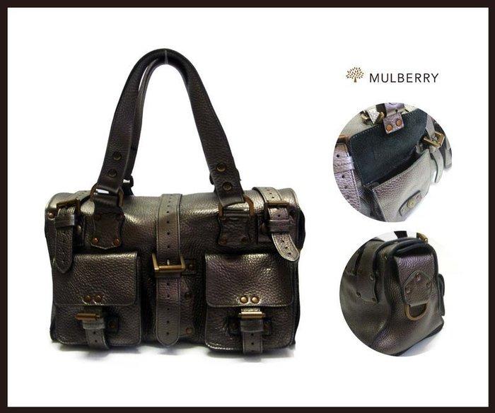 《十九號二手屋》二手Mulberry Roxanne限量銀灰色itBag中型牛皮手提包/肩背包/鉚釘釦 台南名牌寄賣代購