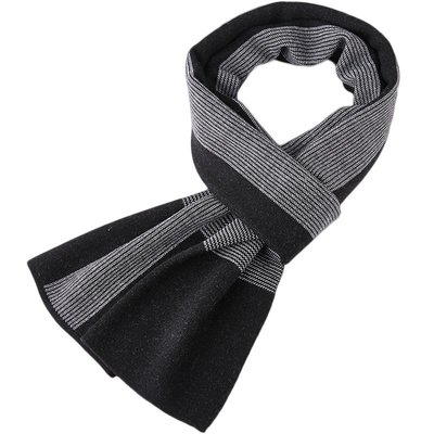 圍巾 針織披肩-細條紋純色提花羊毛男配件3色73wi85[獨家進口][米蘭精品]