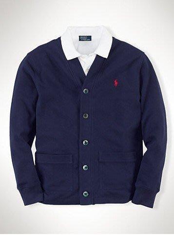 美國百分百【Ralph Lauren】針織衫 RL 網眼 開釦 罩衫 POLO 薄外套 小馬 深藍 XS S號 B572