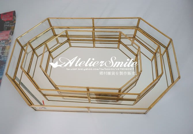 [ Atelier Smile ] 鄉村雜貨 復古歐式 手工銅製八邊形 玻璃展示首飾 收納盒 花盒 小款 (現+預)