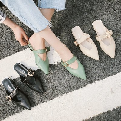 Ekool正韓鞋包~ 時尚尖頭包頭低跟女涼拖皮帶扣鉚釘女鞋牛皮外穿涼拖鞋百搭