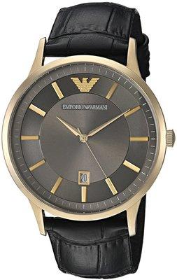 《Vovostore》Emporio Armani 超薄灰底金框黑色鱷魚紋皮革男錶 *附購證、保証書**(3900含郵)