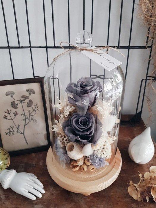灰色玫瑰不凋花玻璃罩。台北西門歡迎自取【Flower&House花藝之家】