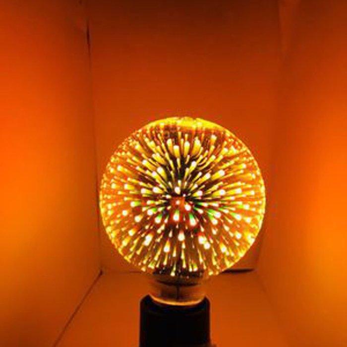 5Cgo【代購】設計師聖誕樹氣氛小夜店LED創意煙花烟火流星燈泡 G80七彩立體藝術E27 3D十種造型 另十款燈座含稅