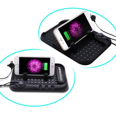 3合1充電車用防滑支架墊 車用充電防滑墊   兩用磁吸充電 車架 車充 安卓 三星 HTC IPHONE SONY 手機