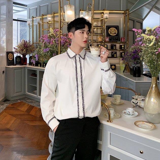 FINDSENSE 2019 秋季上新 G19 精緻白色織帶襯衫時尚流行氣質長袖襯衫素面襯衫 男裝 上衣