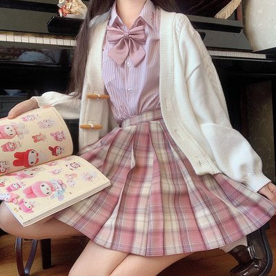 春日部【撫子香】全款預售 jk制服正統格裙女短款百褶裙JK制服套裝