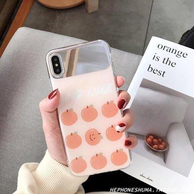 ins清新橘子鏡面xs max蘋果X手機殼iphone8/7plus/6s/XR少女全包   全館免運 全館免運
