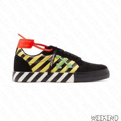 【WEEKEND】 OFF WHITE  Low Vulcanized 條紋 休閒鞋 黑+黃色 19秋冬