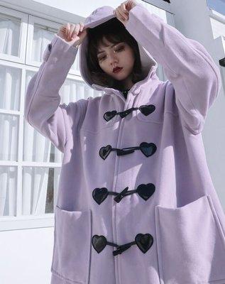 【黑店】原創設計 訂製款紫芋色寬鬆連帽愛心牛角扣毛呢大衣 中長版連帽外套 學院風中長毛呢外套 森女系紫色大衣 SG139