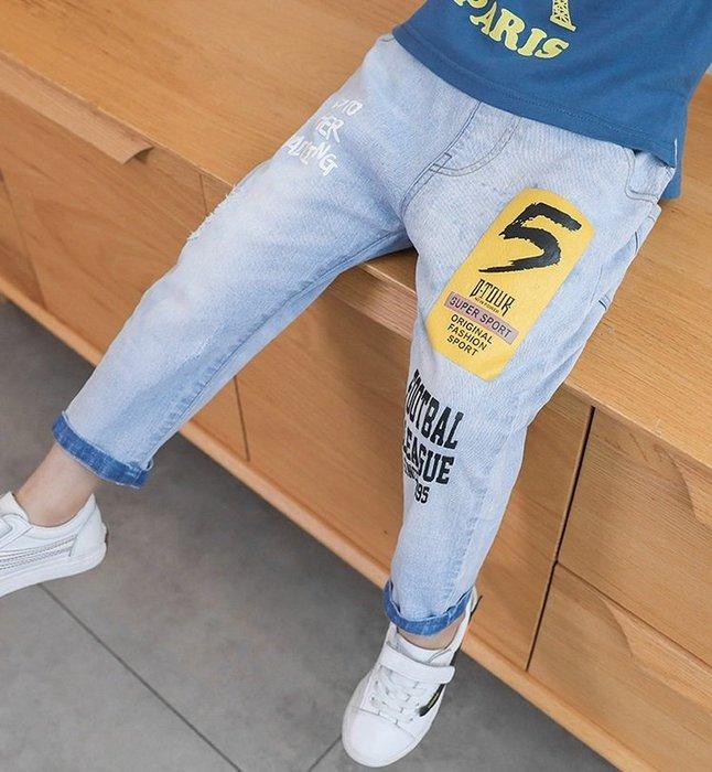 日韓歐美♥韓版 中大男童 帥氣百搭款牛仔長褲 刷白字母 個性風 長褲  【E892】